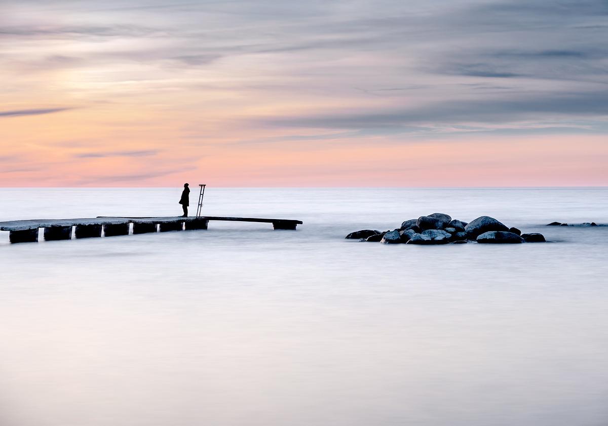 Gotland VIsby Norderstrand Brygga Solnedgång